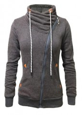 Dark Grey Pocket Design Zipper Closure Sweatshirt