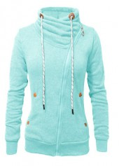 Pocket Design Zipper Closure Cyan Sweatshirt