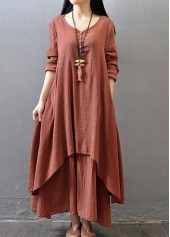 V Neck Long Sleeve Layered Maxi Dress