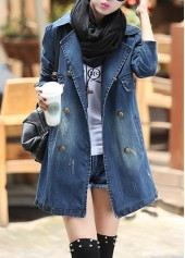 Notch Collar Double Breasted Denim Coat