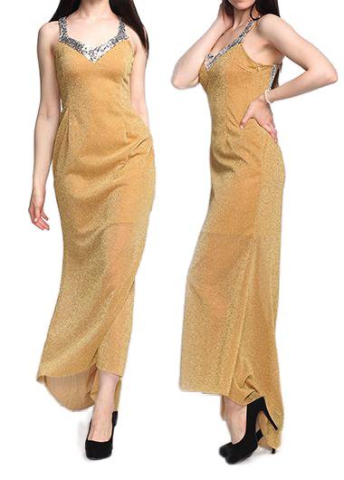 Sequin Embellished Cutout Back Maxi Dress