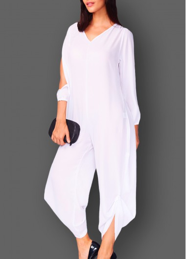 White Long Sleeve V Neck Loose Jumpsuit