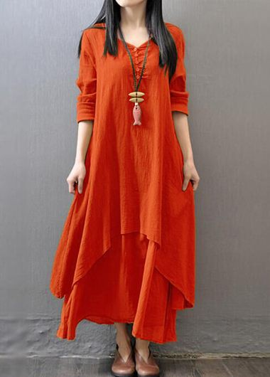 Orange-Long-Sleeve-Tiered-Maxi-Dress