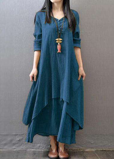 V-Neck-Long-Sleeve-Maxi-Straight-Dress