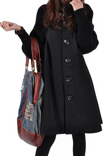Black-Button-Closure-Long-Sleeve-Swing-Coat