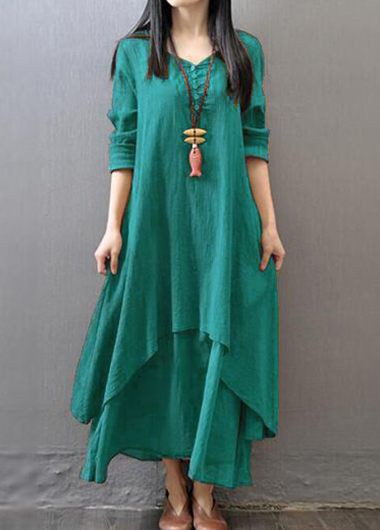 Button Design V Neck Tiered Green Dress