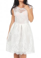 White Round Neck Lace A Line Dress