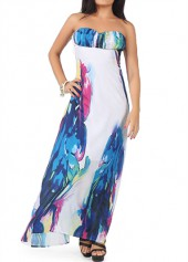 Strapless High Waist Printed Maxi Dress