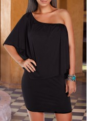 Ruffle Overlay Black Sheath Mini Dress