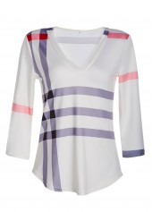 Three Quarter Sleeve Stripe Print T Shirt