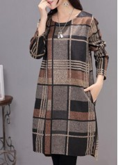 Long Sleeve Plaid Print Asymmetric Dress