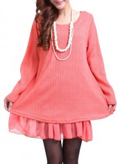 Bowknot Decorated Long Sleeve Pink Sweater Dress