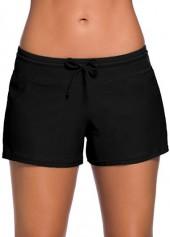 Drawstring-Waist-Solid-Black-Swimwear-Shorts