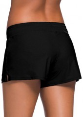 wholesale Drawstring Waist Solid Black Swimwear Shorts
