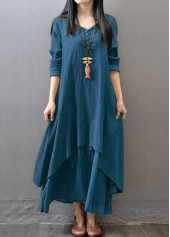 V Neck Long Sleeve Maxi Straight Dress