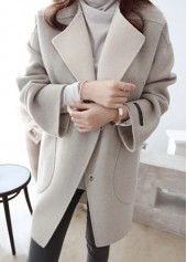Long Sleeve Pocket Design Light Grey Coat
