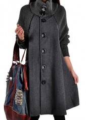 Button Closure Long Sleeve Grey Swing Coat