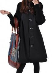 Black Button Closure Long Sleeve Swing Coat | modlily.com - USD $35.22