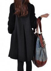 wholesale Black Button Closure Long Sleeve Swing Coat