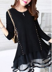 Round Neck Mesh Panel Rivet Decorated Black Sweater
