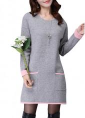 Pocket Design Round Neck Long Sleeve Grey Dress