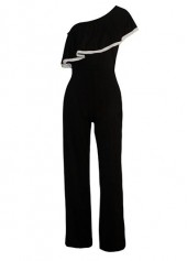 Flounce Design Skew Neck Black Jumpsuit
