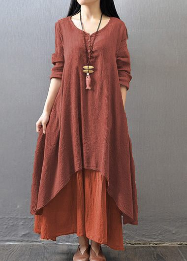V-Neck-Long-Sleeve-Layered-Maxi-Dress
