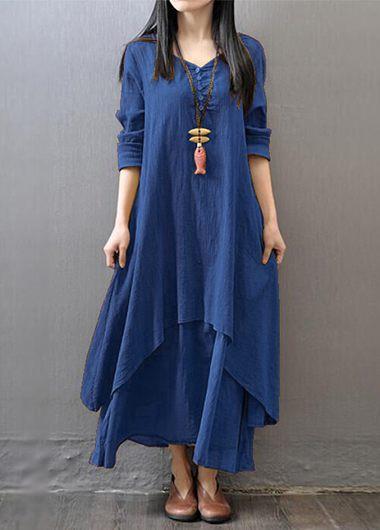 V Neck Long Sleeve Navy Blue Maxi Dress
