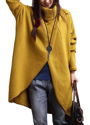 Asymmetric Hem Turtleneck Long Sleeve Yellow Sweater
