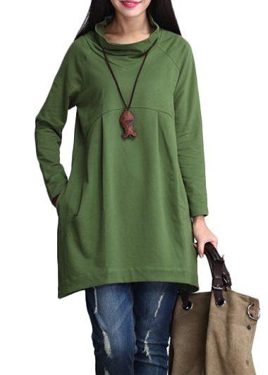 Long Sleeve Cowl Neck Green T Shirt