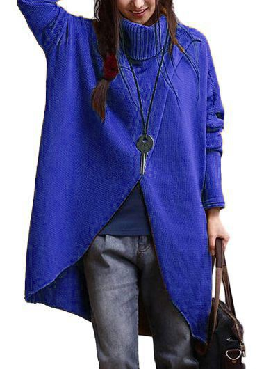 Batwing Sleeve Turtleneck Royal Blue Asymmetric Sweater