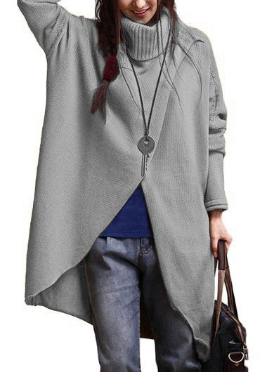 Asymmetric Hem Long Sleeve Grey Sweater