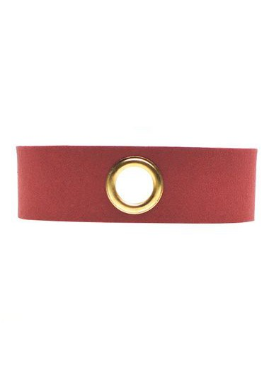 Wine Red Faux Suede Eyelet Design Wide Choker Necklace