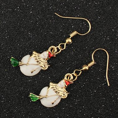 Gold Metal Christmas Snowman Pattern Earrings