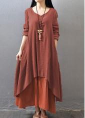 V Neck Long Sleeve Layered Maxi Dress