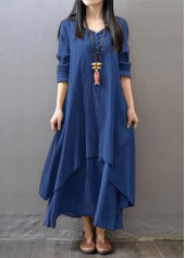 V Neck Long Sleeve Navy Blue Maxi Dress