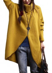 Asymmetric Hem Turtleneck Long Sleeve Yellow Sweater