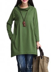 Long Sleeve Cowl Neck Green T Shirt
