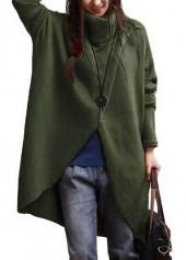 Army Green Turtleneck Asymmetric Hem Long Sleeve Sweater