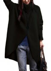 Turtleneck Asymmetric Hem Black Long Sleeve Sweater