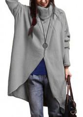 Asymmetric Hem Long Sleeve Grey Sweater