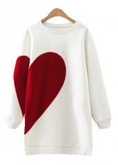 Heart Print Long Sleeve Round Neck White Sweatshirt