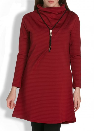 High Neck Long Sleeve Solid Burgundy Pocket Dress