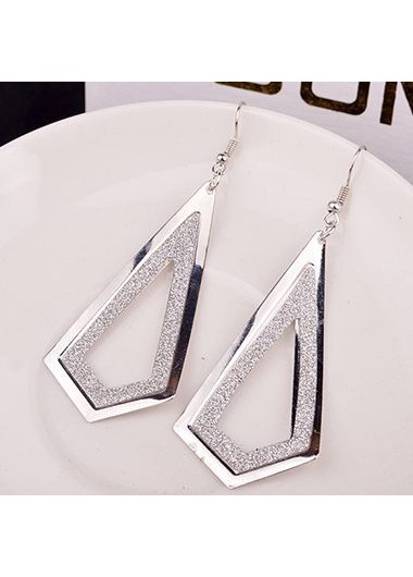 Woman Frosted Silver Metal Geometry Shape Earrings - One Size