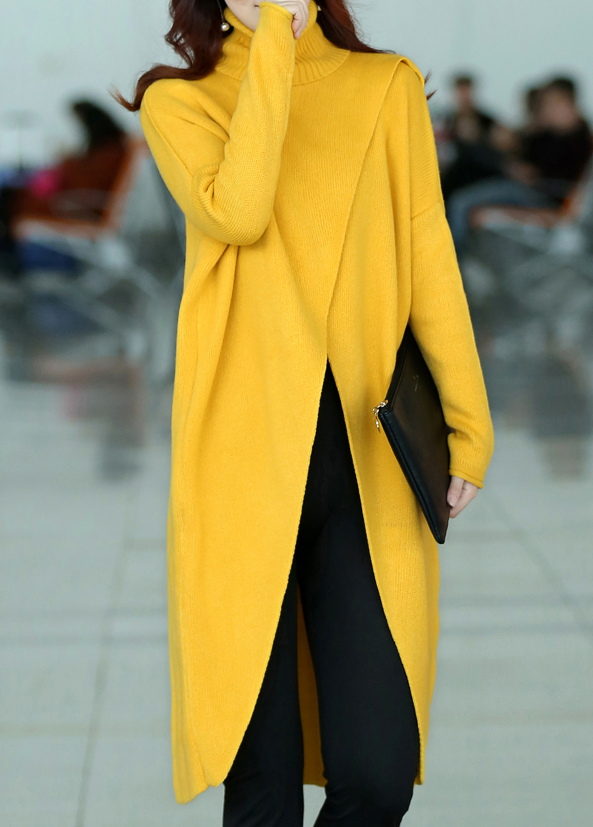 Turtleneck Long Sleeve Front Slit Yellow Sweater