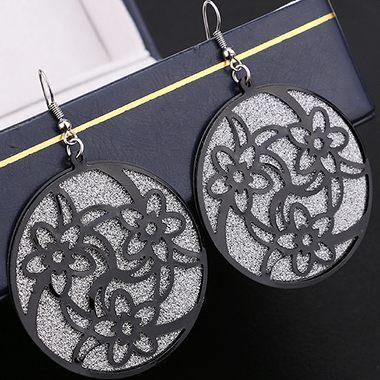 Flower Pattern Round Shape Design Black Metal Earrings