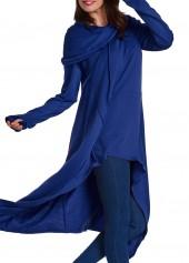 Navy Blue Pocket Design Asymmetric Hem Hoodie
