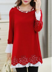 Round Neck Metal Chain Embellished Puff Sleeve Blouse