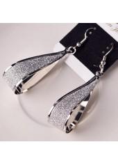 wholesale Water Drop Pattern Matting Silver Earrings