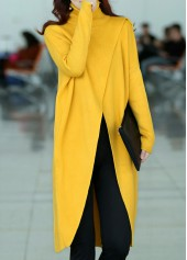 Turtleneck-Long-Sleeve-Front-Slit-Yellow-Sweater